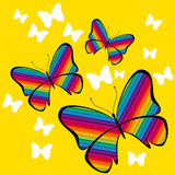 Kleurrijke vlindervector op gele achtergrond Royalty-vrije Stock Fotografie