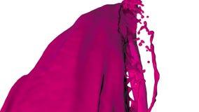Kleurrijke vloeibare stroom De plonsen van de verf Vloeibare stroomvliegen in de camera viooltje royalty-vrije illustratie