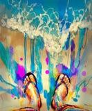 Kleurrijke voeten op strand Stock Fotografie