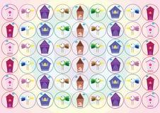 Kleurrijke vogel met huizen Stock Fotografie