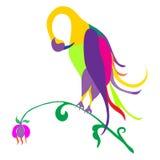 Kleurrijke vogel op een witte achtergrond, abstracte vectorillustratie Royalty-vrije Stock Foto's