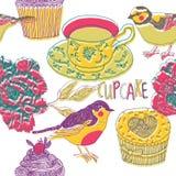 Kleurrijke vogels en kop thee royalty-vrije illustratie