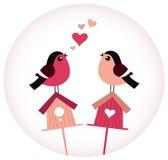 Leuke Vogels in liefdezitting op Vogelhuizen Stock Foto's