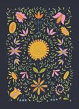 Kleurrijke volks retro vreedzame bloem etnische inzameling op moderne donkere achtergrond royalty-vrije stock afbeeldingen