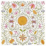 Kleurrijke volks retro vreedzame bloem etnische inzameling op witte achtergrond stock afbeelding
