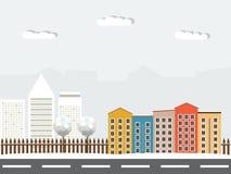 Kleurrijke Voorstad en Commerciële Stad op de Achtergrond stock illustratie