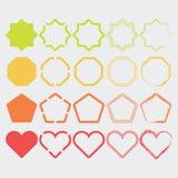 Kleurrijke vormpictogrammen in verschillende geplaatste kleuren en ontwerpen Royalty-vrije Stock Foto