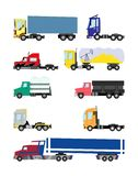 Kleurrijke Vrachtwagens en aanhangwagens op een witte achtergrond royalty-vrije illustratie