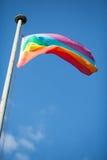 Kleurrijke vredesvlag in blauwe hemel Royalty-vrije Stock Fotografie
