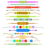 Kleurrijke Vriendschapsbanden Stock Fotografie