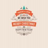 Kleurrijke Vrolijke Kerstmis vector retro uitstekende kentekens Royalty-vrije Stock Afbeeldingen
