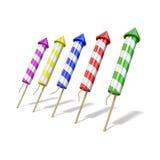 Kleurrijke vuurwerkraketten 3d geef terug Royalty-vrije Stock Afbeeldingen