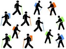 Kleurrijke wandelaars Royalty-vrije Stock Afbeelding