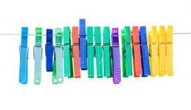 Kleurrijke wasknijpers Stock Fotografie