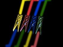 Kleurrijke wasknijpers stock afbeelding