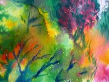 Kleurrijke Waterverf die 1 schildert Stock Afbeeldingen