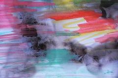 Kleurrijke waterverf op gebrand document Royalty-vrije Stock Foto's