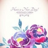 Kleurrijke Waterverf Rose Floral Greeting Card Royalty-vrije Stock Afbeeldingen