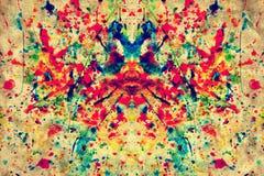 Kleurrijke waterverfplons op het uitstekende document van het grungecanvas Royalty-vrije Stock Foto's