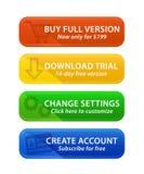 Kleurrijke Webknopen met pictogrammen Stock Afbeelding