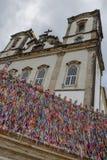 Kleurrijke wenslinten voor Bonfim-kerk in Salvador Bahia, Brazilië stock afbeeldingen
