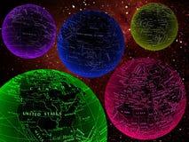 Kleurrijke werelden in ruimte Stock Afbeeldingen