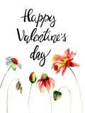 Kleurrijke wilde bloemen met dag van titel de Gelukkige Valentijnskaarten Stock Foto's