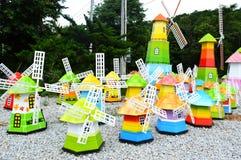 Kleurrijke windmolen Stock Foto