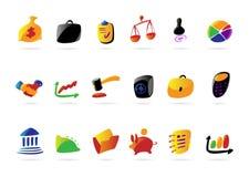 Kleurrijke zaken, financiën en wettelijke pictogrammen Stock Foto's