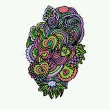 Kleurrijke Zentangle-Krabbelvector Royalty-vrije Stock Afbeeldingen