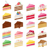 Kleurrijke zoete cakesplakken geplaatst vectorillustratie Stock Fotografie