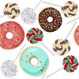 Kleurrijke zoete lollys en donuts naadloos patroon De achtergrond van het voedsel vector illustratie