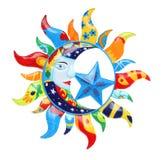 Kleurrijke Zon en Maan Stock Afbeeldingen