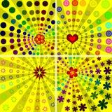 Kleurrijke zonnestraalachtergronden stock illustratie
