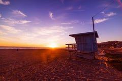 Kleurrijke zonsondergang in Malibu stock foto