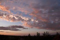 Kleurrijke zonsondergang met wolken en bomen Royalty-vrije Stock Foto