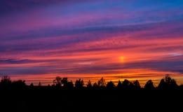 Kleurrijke zonsondergang met wolken en bomen Stock Fotografie