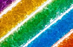 Kleurrijke zoute kristallen in reageerbuizen Stock Fotografie