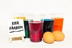 Kleurstof, eieren, Pasen, canvas met tekst Royalty-vrije Stock Foto