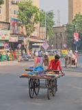 Kleurstoffen in beweging in Ahmedabad Stock Foto