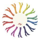 Kleurt multicolored regenboog van leggingkousen heldere gekleurde nylon textiel in een cirkel aangezien een bloem met wit geïsole vector illustratie