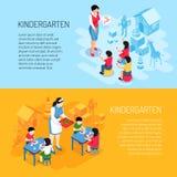 kleuterschool Isometrische Banners stock illustratie