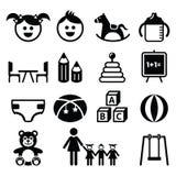 Kleuterschool, kinderdagverblijf, peuter geplaatste pictogrammen Stock Afbeeldingen