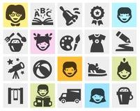 Kleuterschool, school vastgestelde zwarte pictogrammen tekens en Stock Afbeeldingen