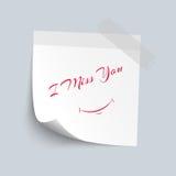 Kleverig nota Witboek met mis ik u rode kleurentekst isoleer vector illustratie