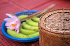 Kleverige de rijstcontainer van het bamboe Stock Fotografie