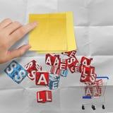 Kleverige nota met verkoopwoord en 3d boodschappenwagentjeverkoop Stock Afbeelding