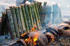 Kleverige rijst in bamboe Royalty-vrije Stock Foto