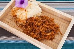 Kleverige Rijst met binnen Fried Pork, Thais voedsel Royalty-vrije Stock Afbeelding