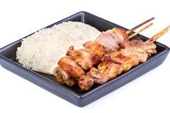 Kleverige rijst met geroosterd varkensvlees Stock Afbeelding